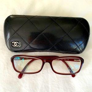 CHANEL Red Frame Eyeglasses